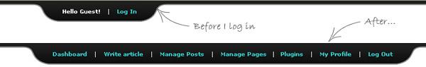 Show/hide login panel in WordPress using Mootools 1.2