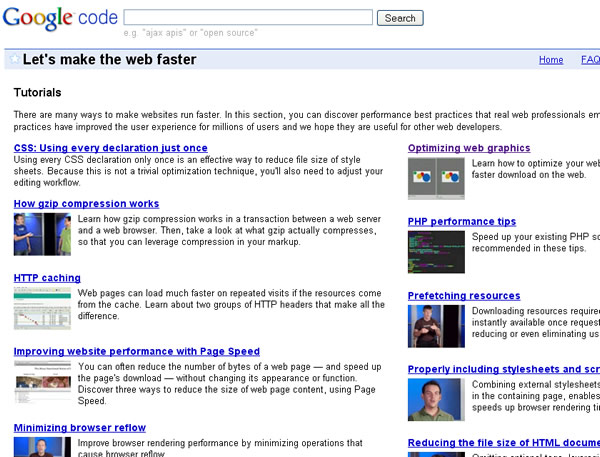 Google Code: Let's make the web faster