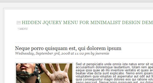 Hidden jQuery menu for minimalist desgin